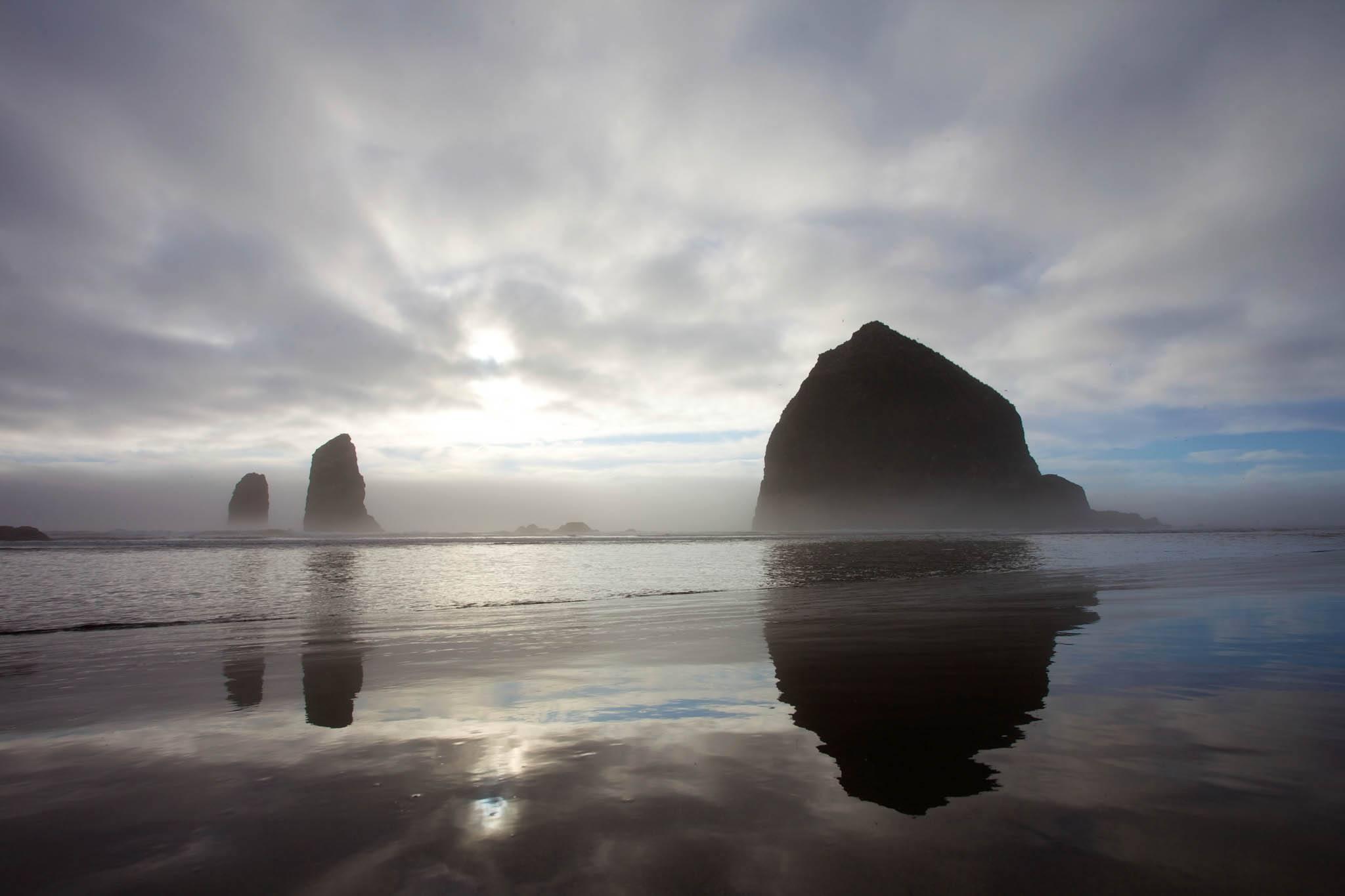 Haystack Rock on a Foggy Day
