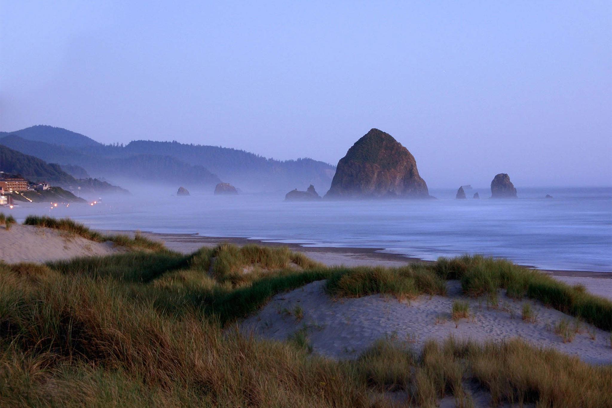 Stunning Cannon Beach Oregon foggy day