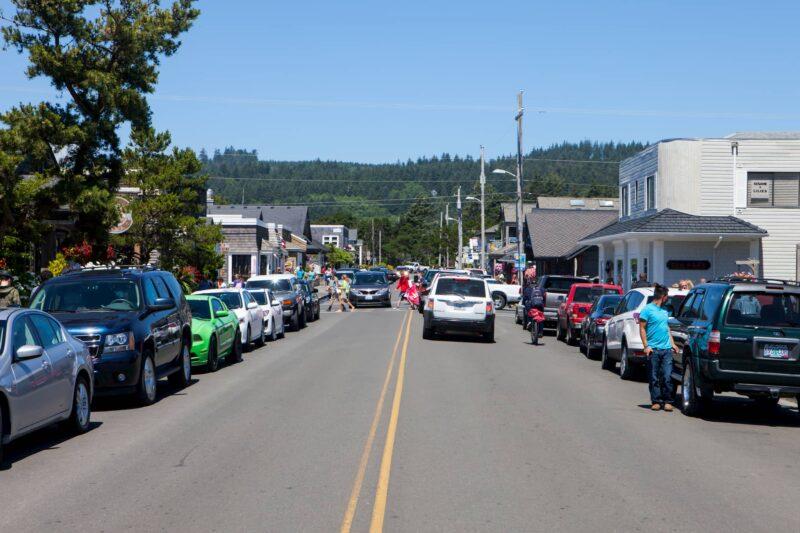 Summer visitors in Cannon Beach, Oregon